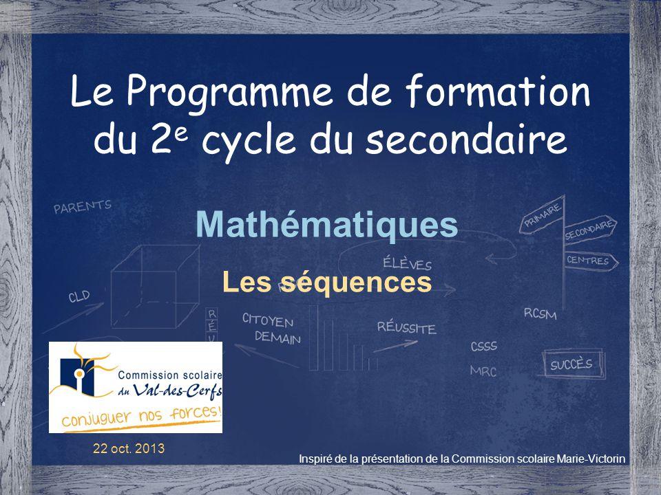 Le Programme de formation du 2e cycle du secondaire