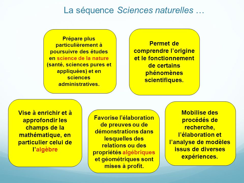 La séquence Sciences naturelles …