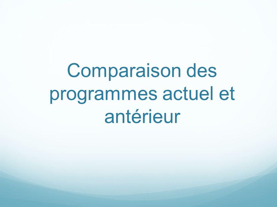 Comparaison des programmes actuel et antérieur