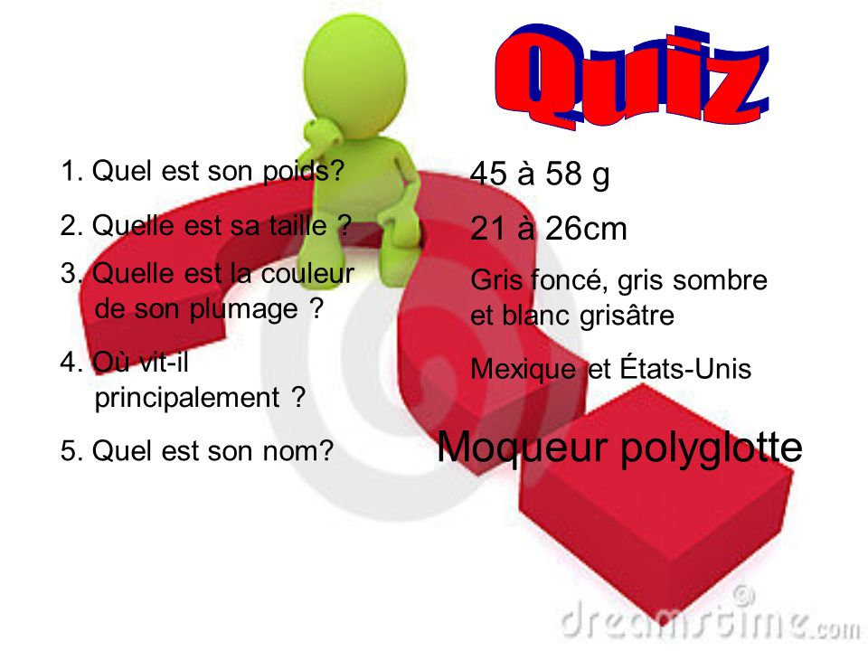 Q u i z Moqueur polyglotte 45 à 58 g 21 à 26cm 1. Quel est son poids