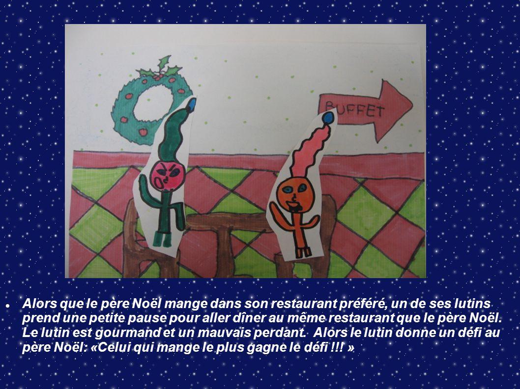 Alors que le père Noël mange dans son restaurant préféré, un de ses lutins prend une petite pause pour aller dîner au même restaurant que le père Noël.