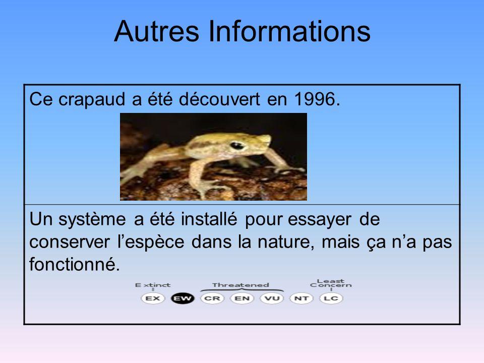Autres Informations Ce crapaud a été découvert en 1996.