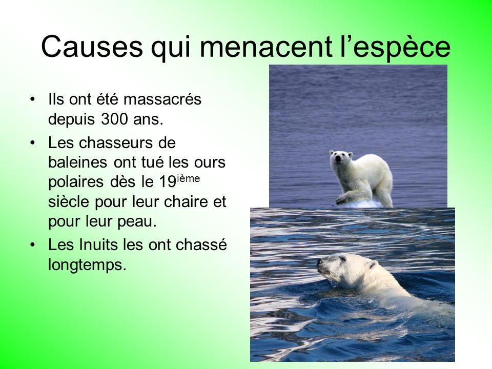 Causes qui menacent l'espèce