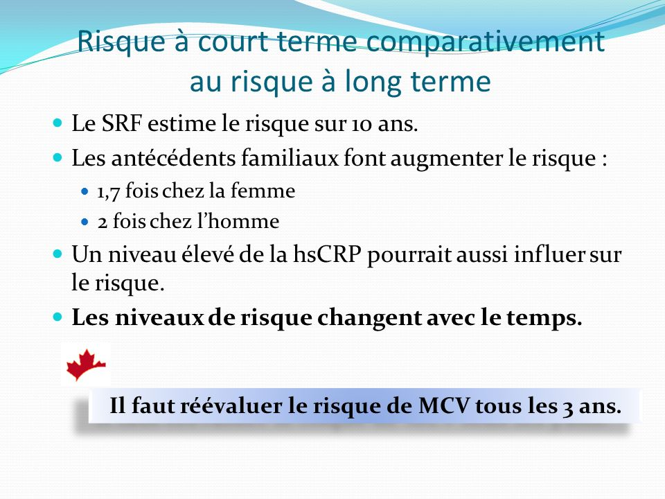 Risque à court terme comparativement au risque à long terme
