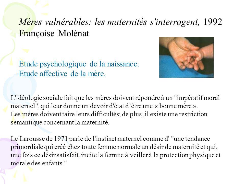 Mères vulnérables: les maternités s interrogent, 1992