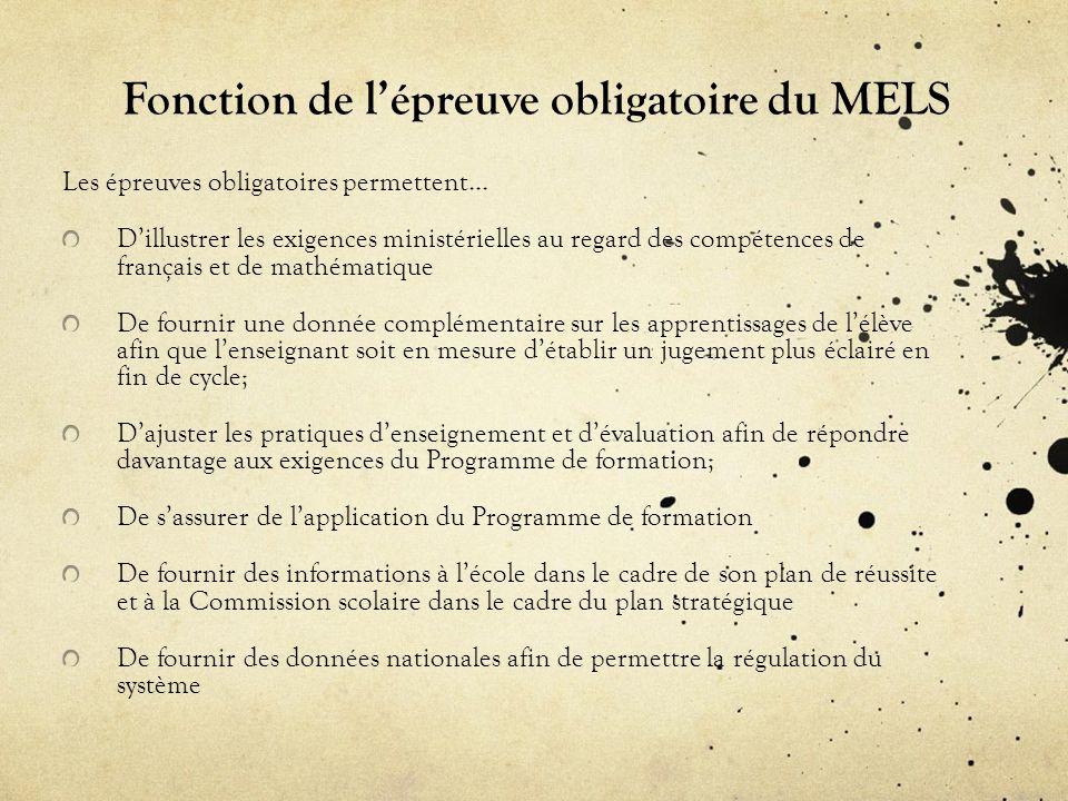 Fonction de l'épreuve obligatoire du MELS