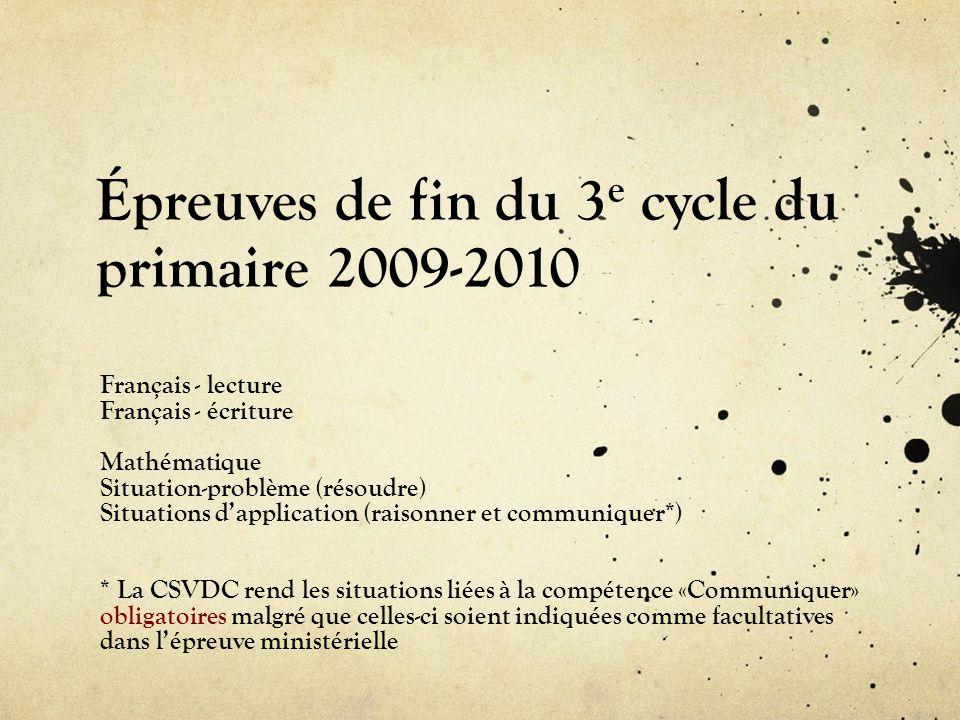 Épreuves de fin du 3e cycle du primaire 2009-2010