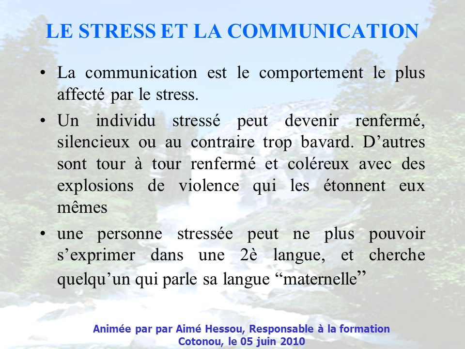 LE STRESS ET LA COMMUNICATION