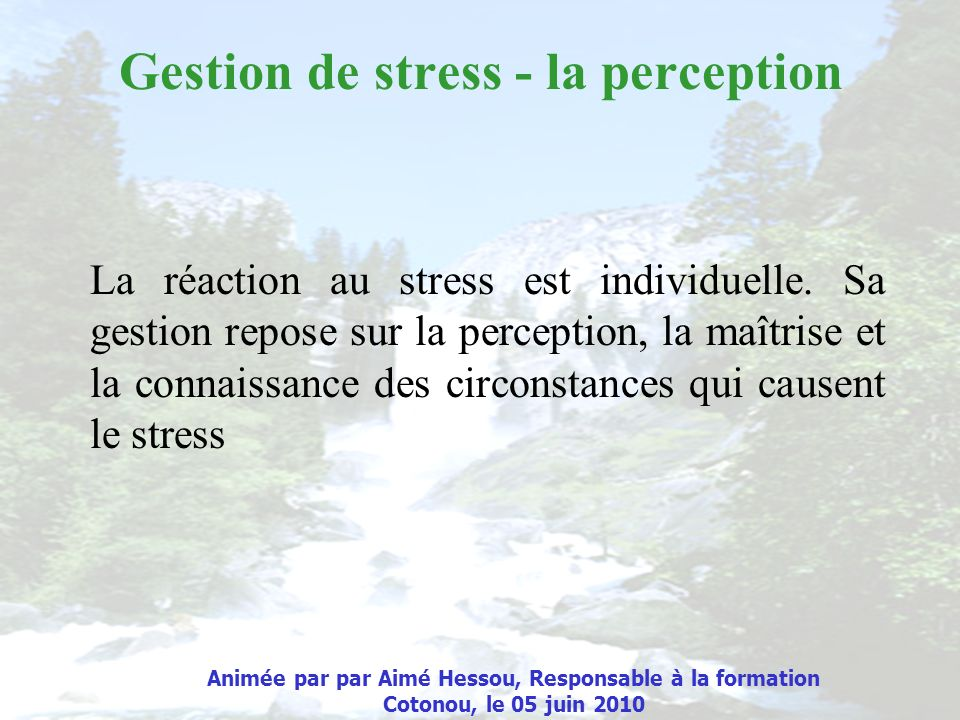 Gestion de stress - la perception