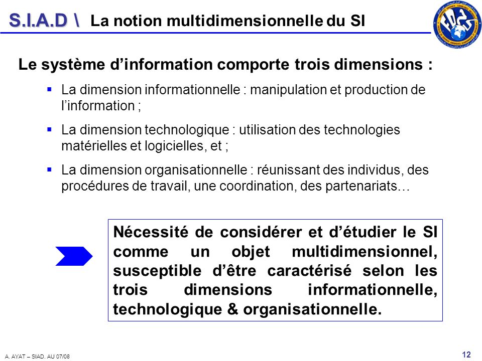 La notion multidimensionnelle du SI