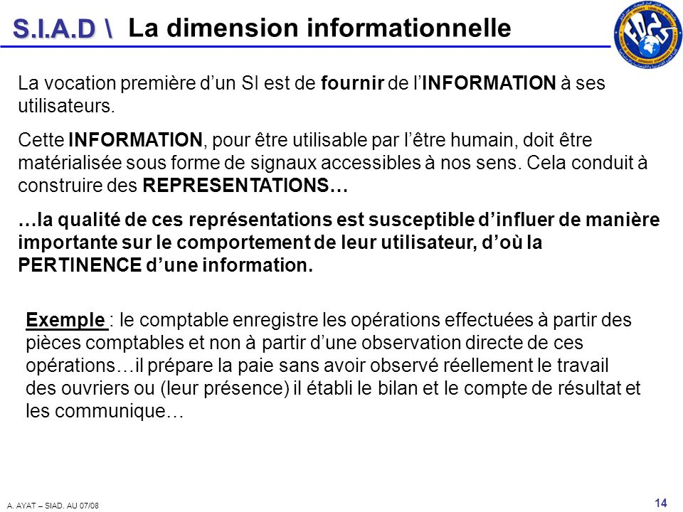 La dimension informationnelle