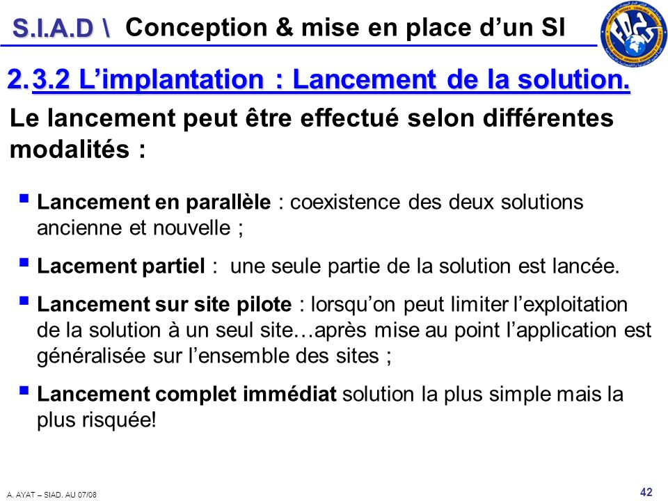 3.2 L'implantation : Lancement de la solution.