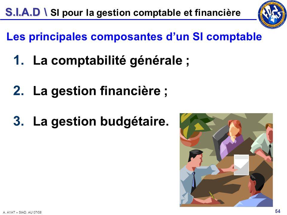 La comptabilité générale ; La gestion financière ;