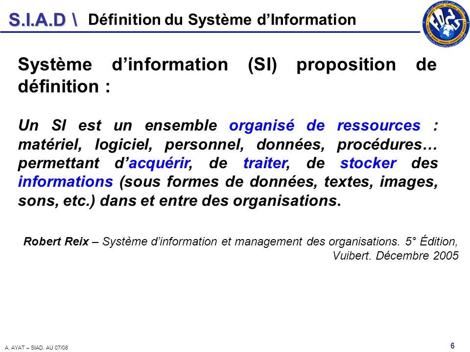 Système d'information (SI) proposition de définition :