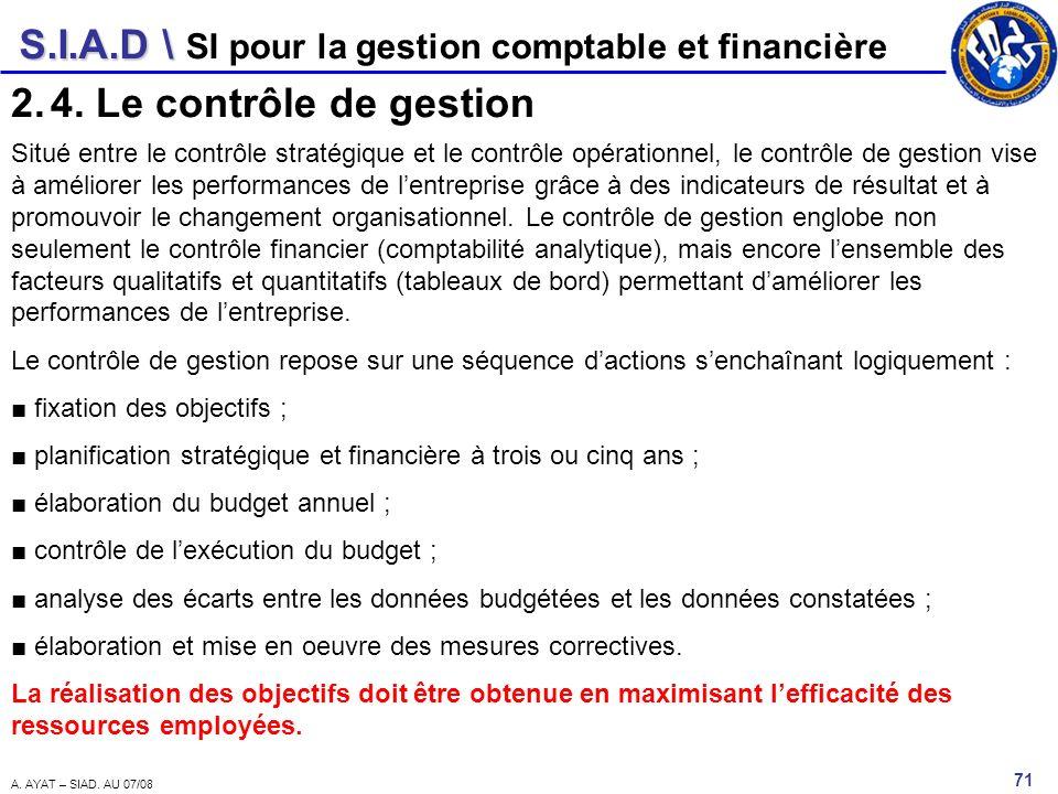 4. Le contrôle de gestion SI pour la gestion comptable et financière