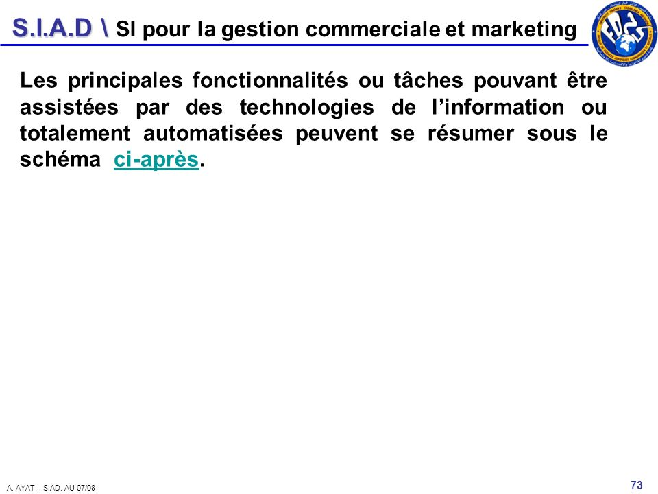 SI pour la gestion commerciale et marketing