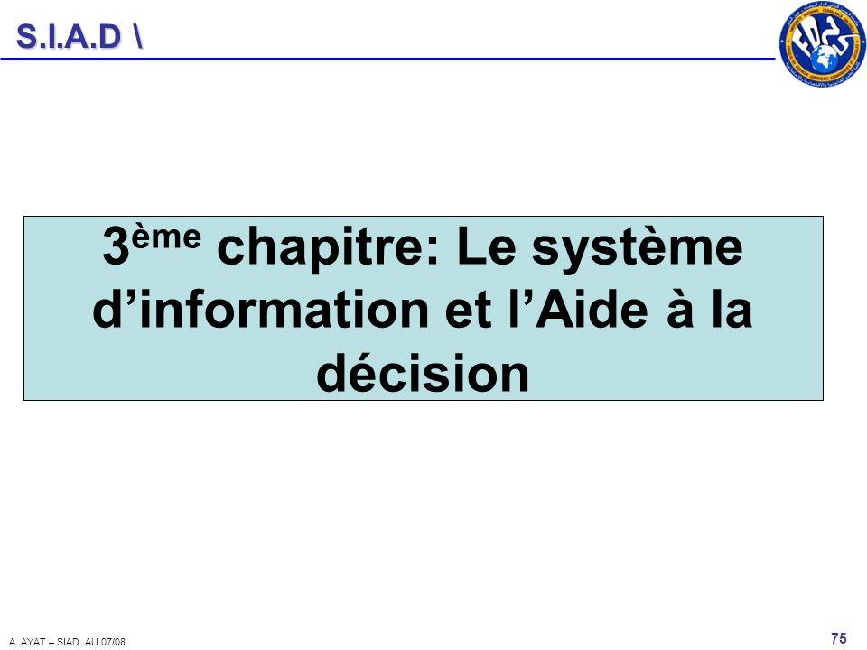 3ème chapitre: Le système d'information et l'Aide à la décision