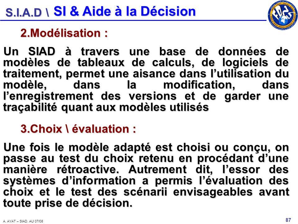SI & Aide à la Décision Modélisation :