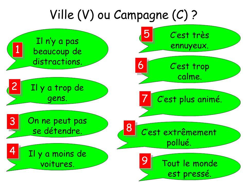 Ville (V) ou Campagne (C)