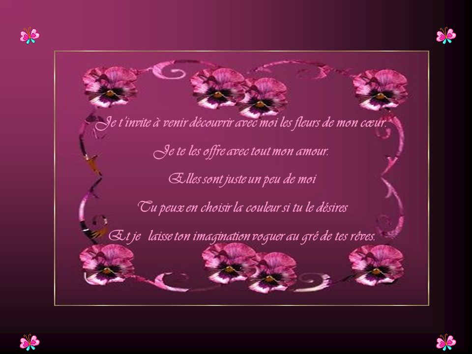 Je t'invite à venir découvrir avec moi les fleurs de mon cœur.
