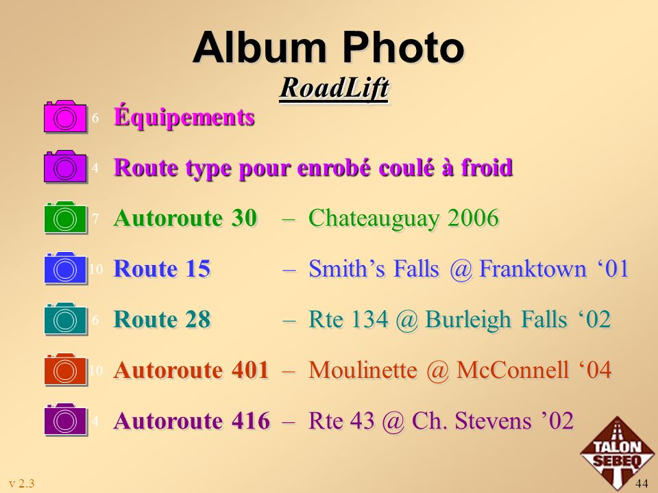 Album Photo RoadLift Équipements Route type pour enrobé coulé à froid
