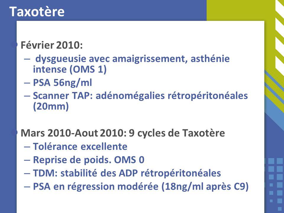 Taxotère Février 2010: Mars 2010-Aout 2010: 9 cycles de Taxotère