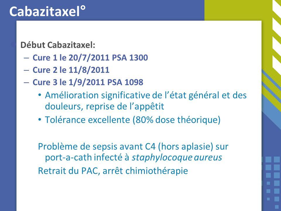 Cabazitaxel° Début Cabazitaxel: Cure 1 le 20/7/2011 PSA 1300. Cure 2 le 11/8/2011. Cure 3 le 1/9/2011 PSA 1098.