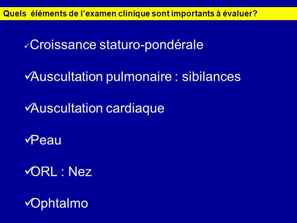 Auscultation pulmonaire : sibilances Auscultation cardiaque Peau