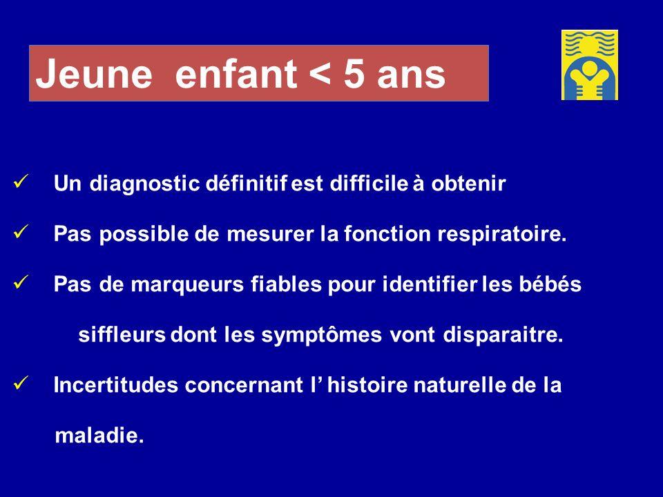 Jeune enfant < 5 ans Un diagnostic définitif est difficile à obtenir. Pas possible de mesurer la fonction respiratoire.