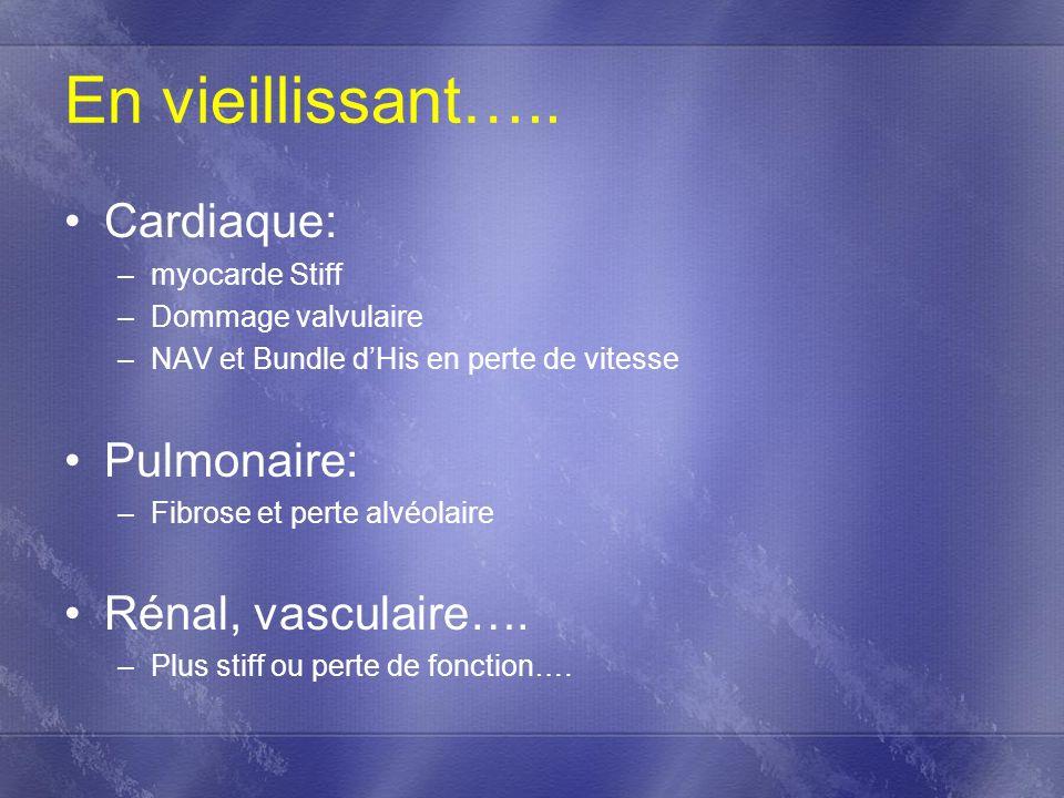 En vieillissant….. Cardiaque: Pulmonaire: Rénal, vasculaire….