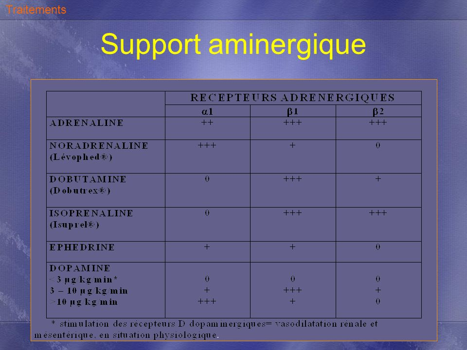Traitements Support aminergique