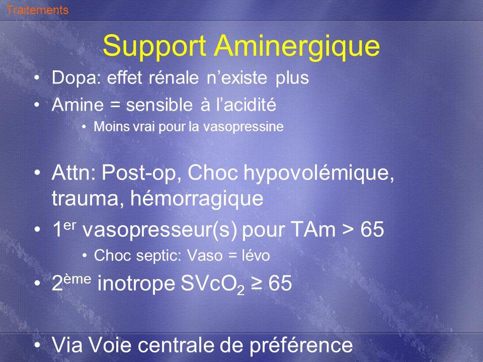 Traitements Support Aminergique. Dopa: effet rénale n'existe plus. Amine = sensible à l'acidité. Moins vrai pour la vasopressine.