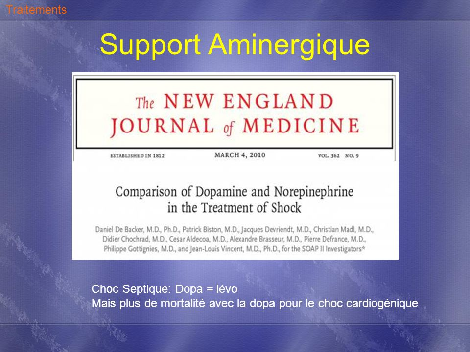 Support Aminergique Traitements Choc Septique: Dopa = lévo