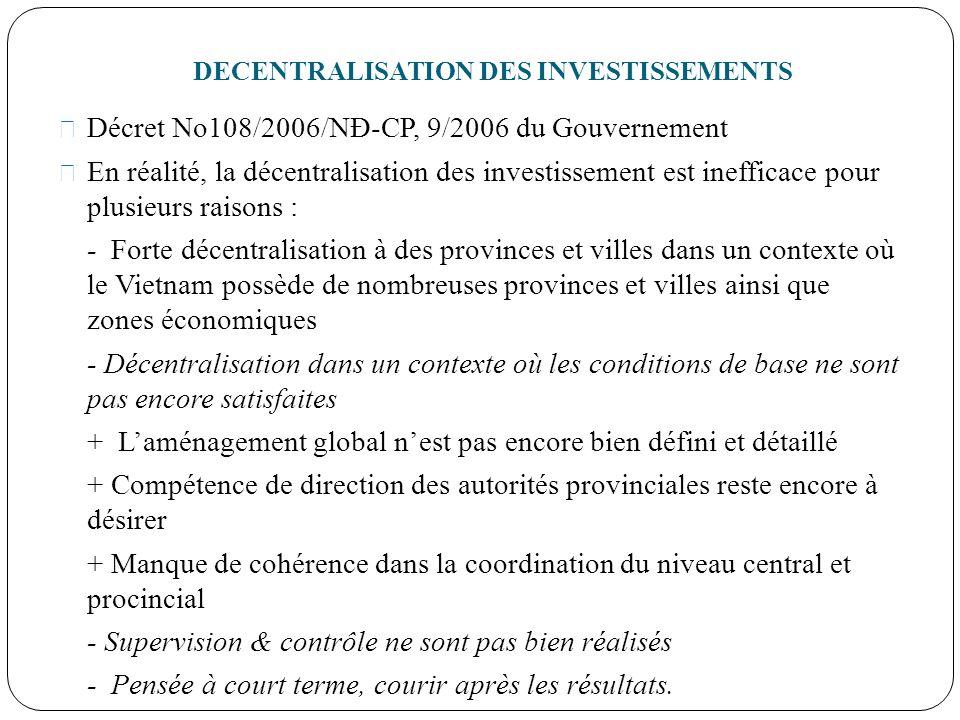 DECENTRALISATION DES INVESTISSEMENTS