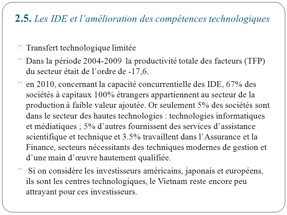 2.5. Les IDE et l'amélioration des compétences technologiques