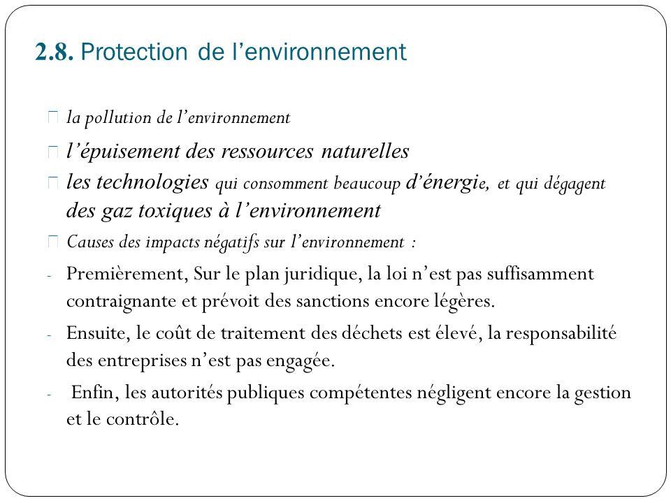 2.8. Protection de l'environnement