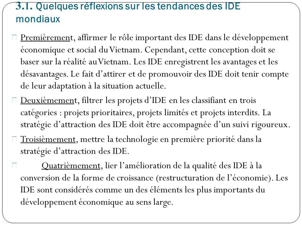 3.1. Quelques réflexions sur les tendances des IDE mondiaux