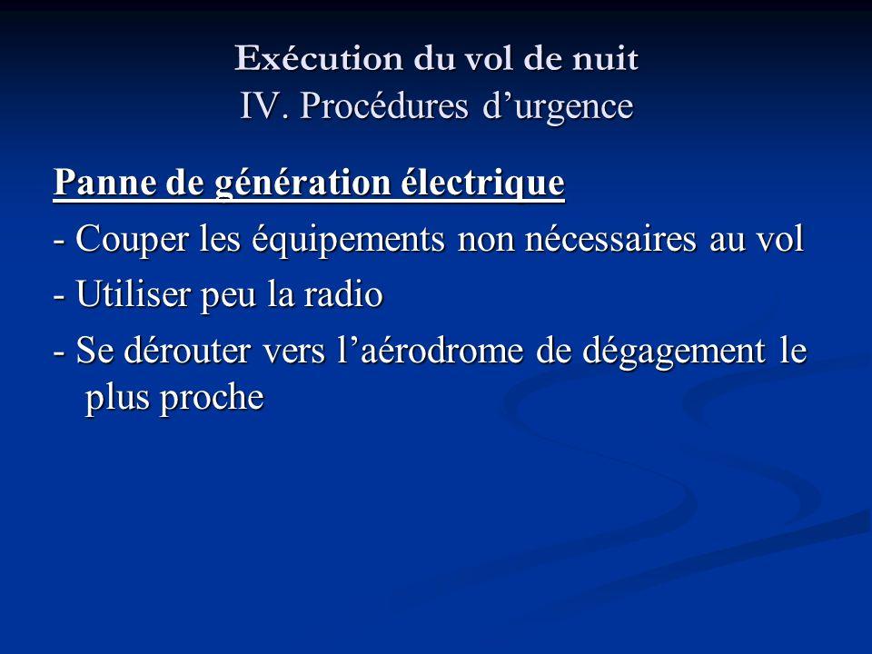 Exécution du vol de nuit IV. Procédures d'urgence