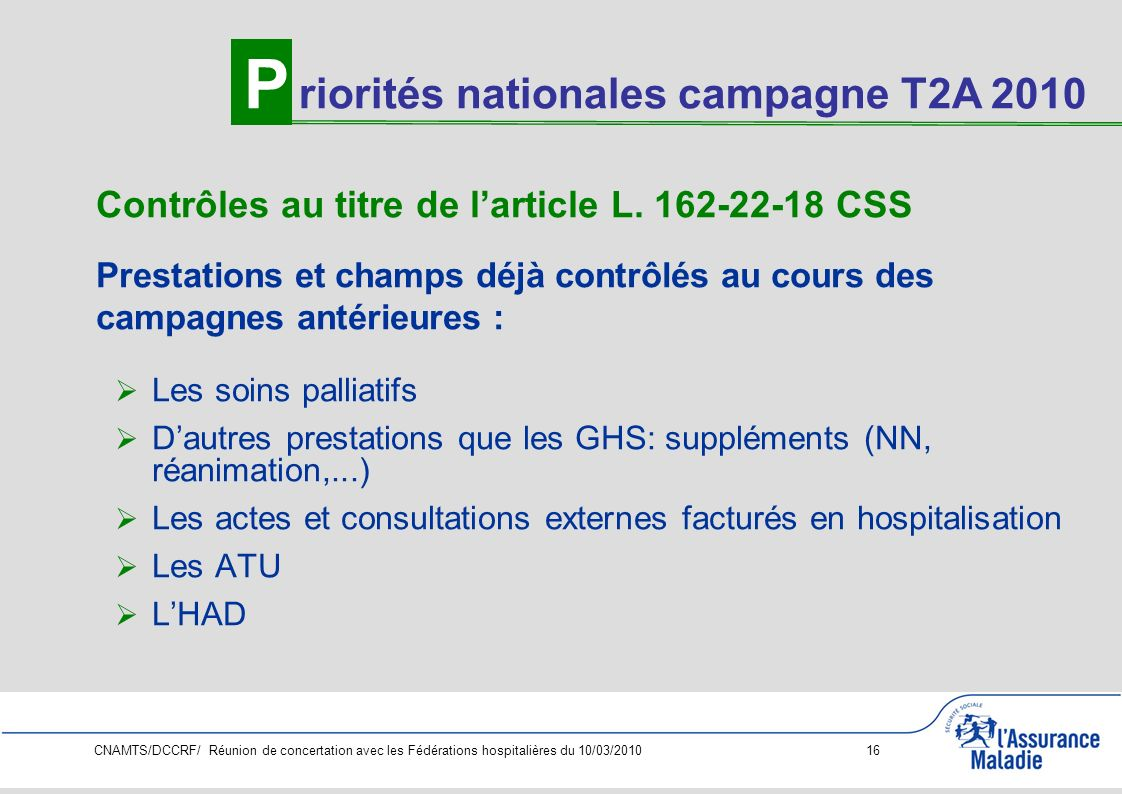 P riorités nationales campagne T2A 2010