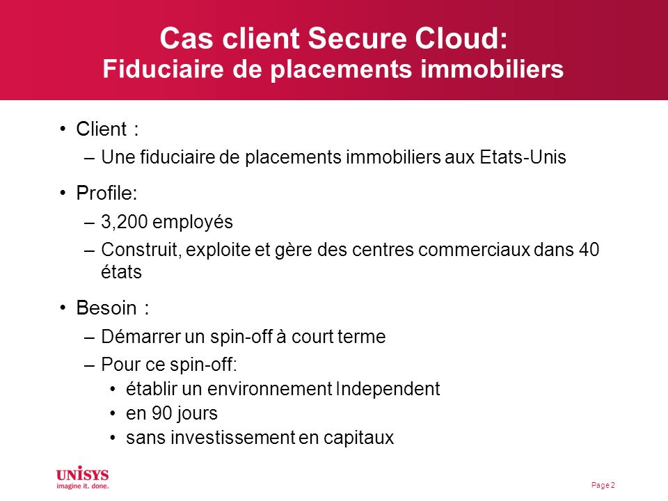 Cas client Secure Cloud: Fiduciaire de placements immobiliers