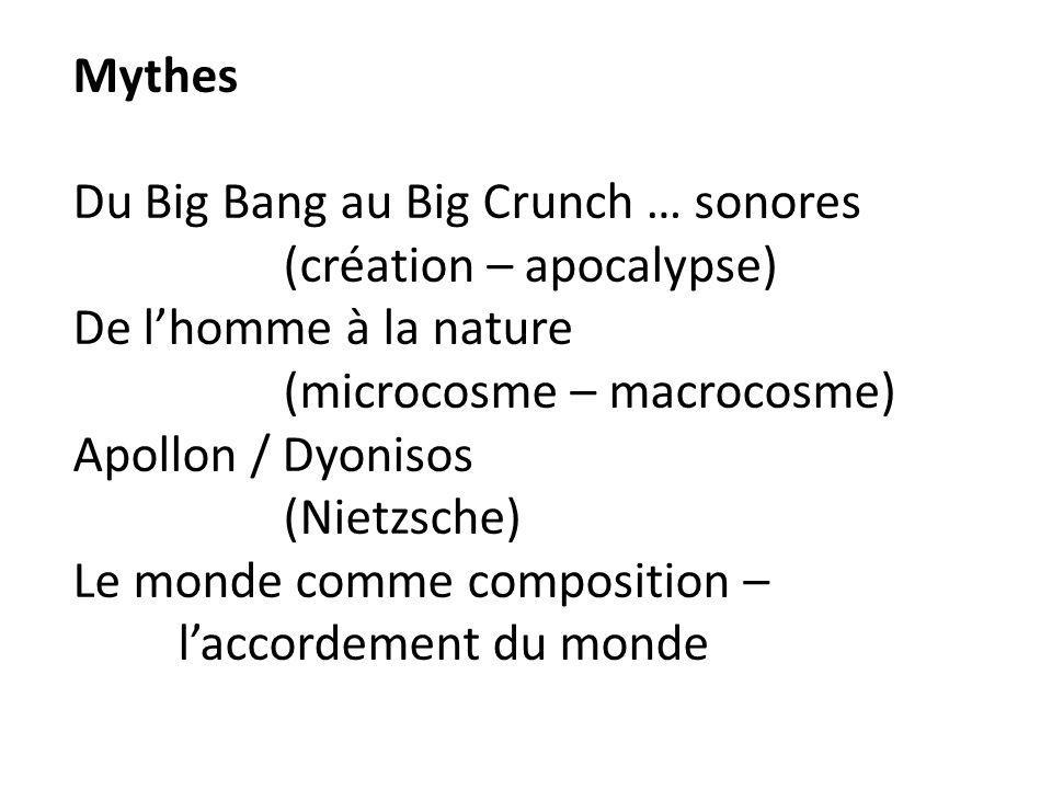 Mythes Du Big Bang au Big Crunch … sonores