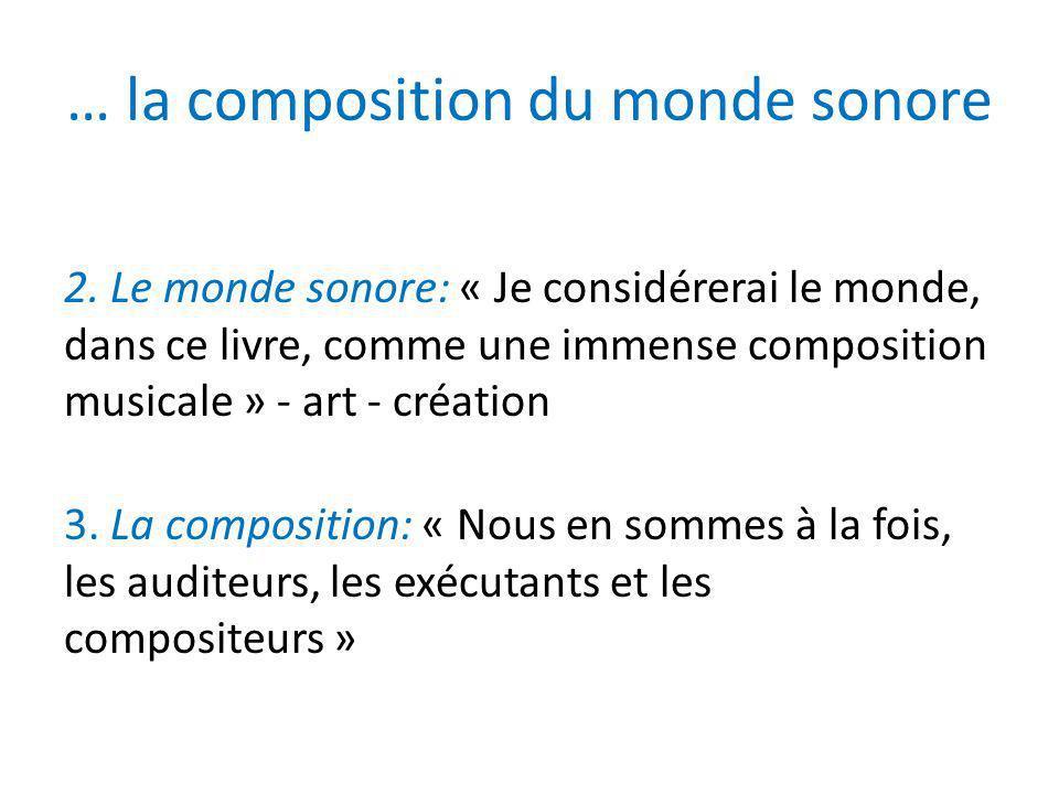 … la composition du monde sonore