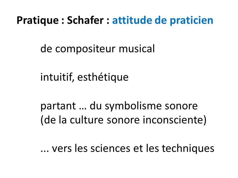 Pratique : Schafer : attitude de praticien. de compositeur musical