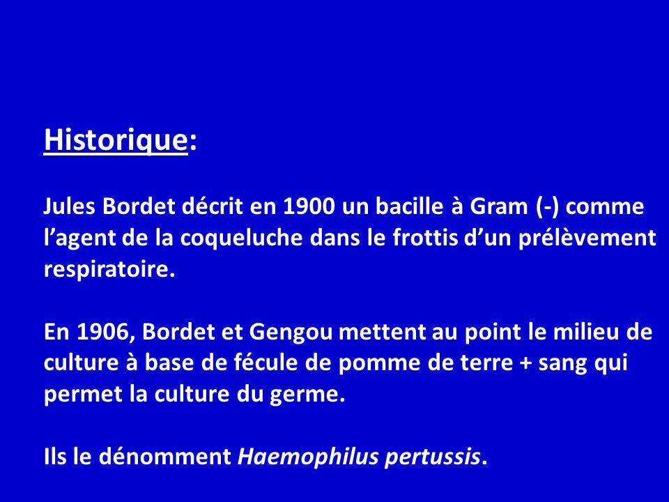 Historique: Jules Bordet décrit en 1900 un bacille à Gram (-) comme