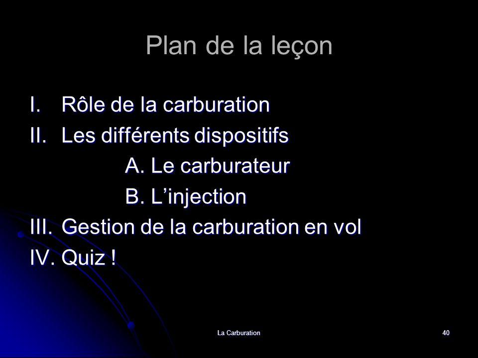 Plan de la leçon I. Rôle de la carburation