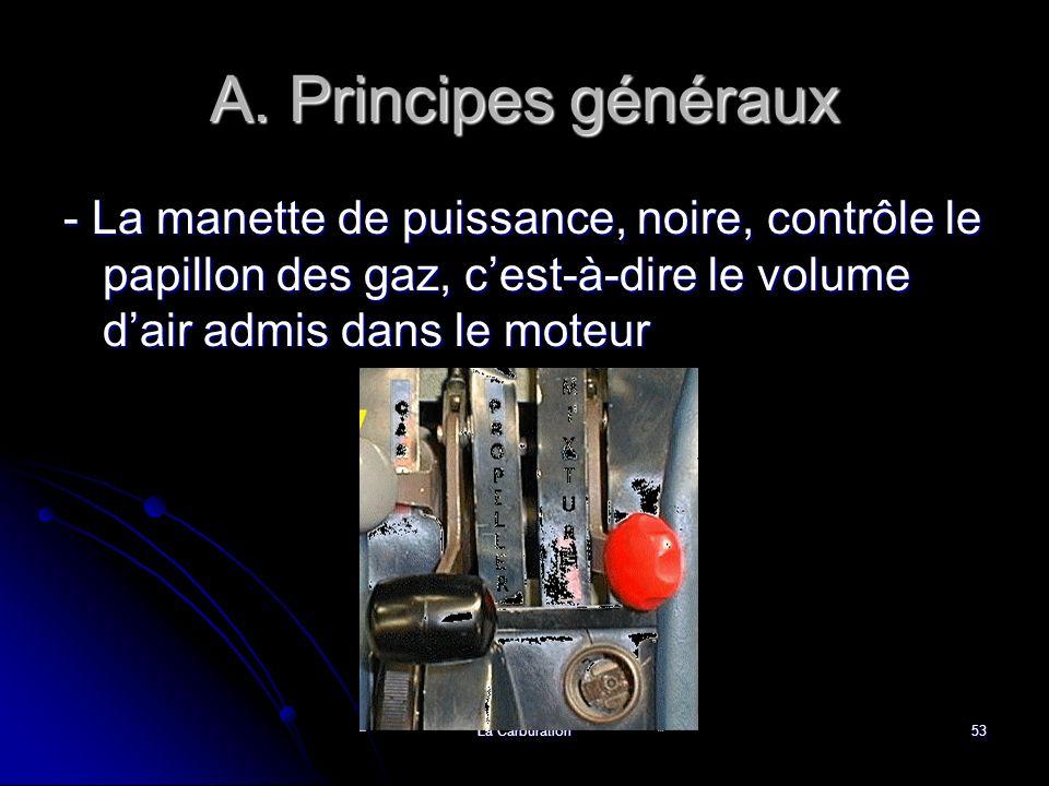 A. Principes généraux - La manette de puissance, noire, contrôle le papillon des gaz, c'est-à-dire le volume d'air admis dans le moteur.