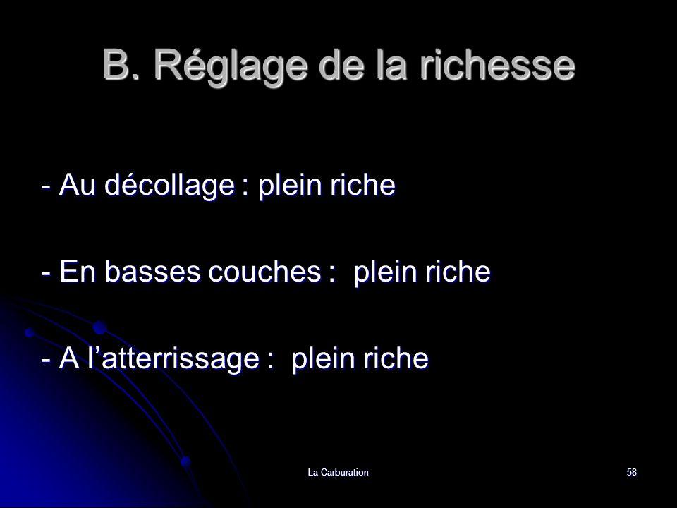B. Réglage de la richesse