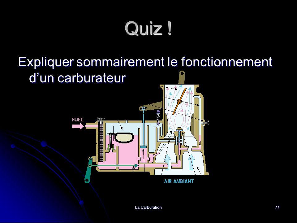Quiz ! Expliquer sommairement le fonctionnement d'un carburateur