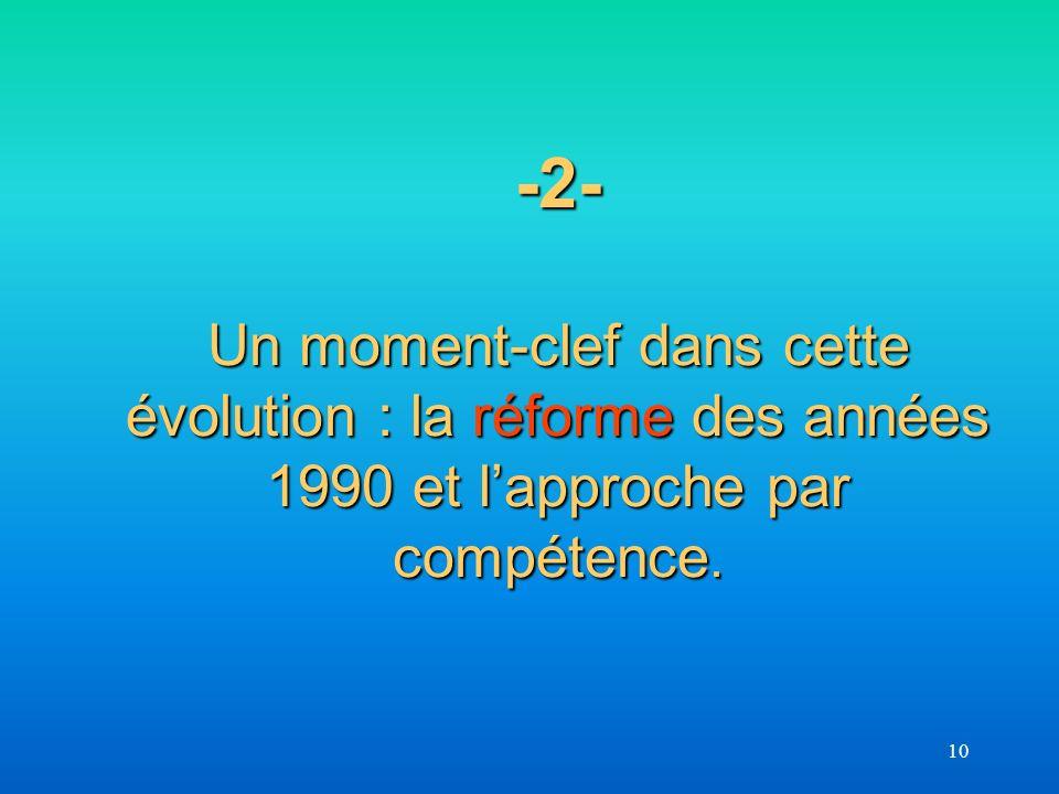 -2- Un moment-clef dans cette évolution : la réforme des années 1990 et l'approche par compétence.