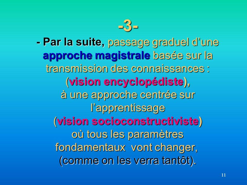 -3- - Par la suite, passage graduel d'une approche magistrale basée sur la transmission des connaissances : (vision encyclopédiste), à une approche centrée sur l'apprentissage (vision socioconstructiviste) où tous les paramètres fondamentaux vont changer, (comme on les verra tantôt).